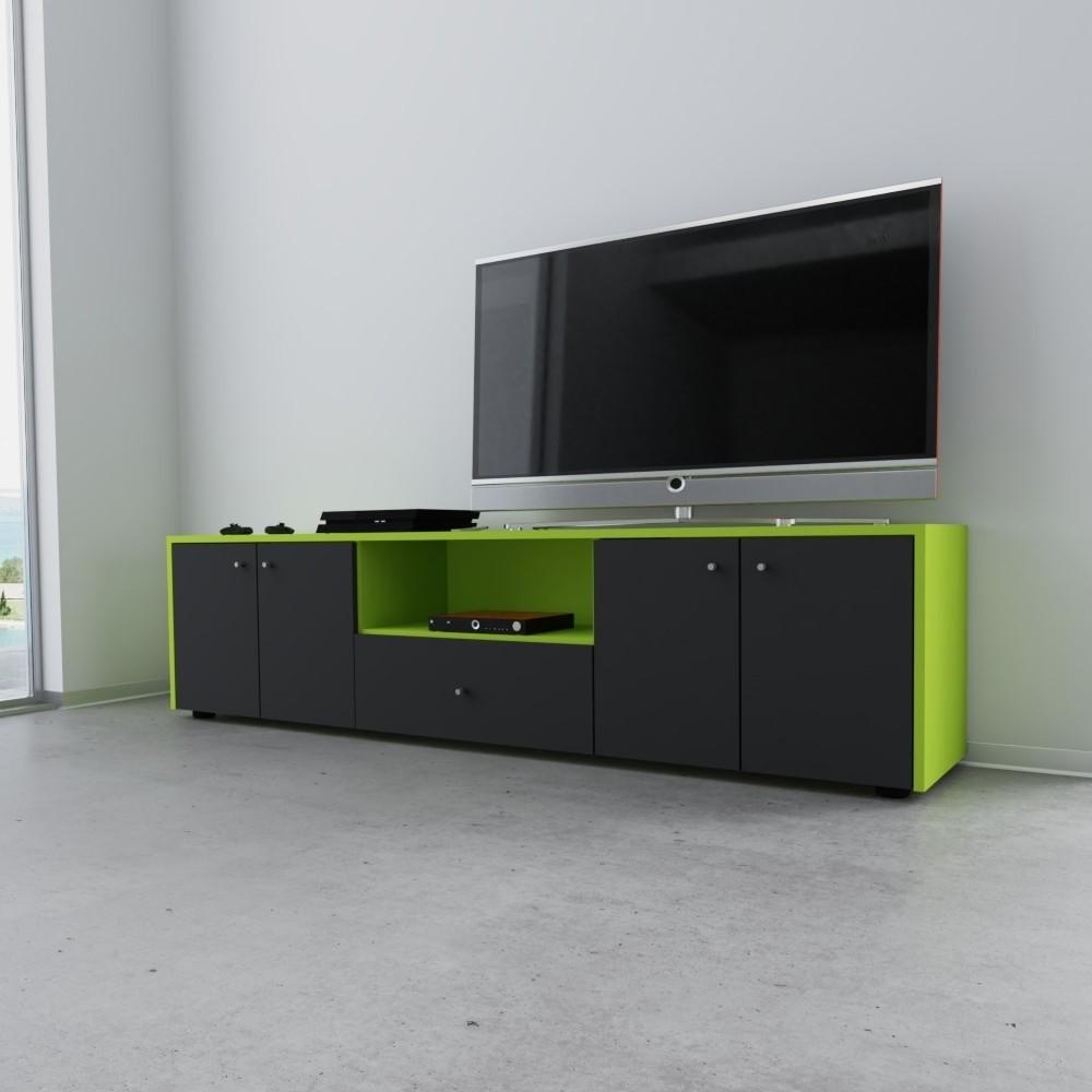 TV-Möbel, der Fernseher ist beiseite, grüne Möbel