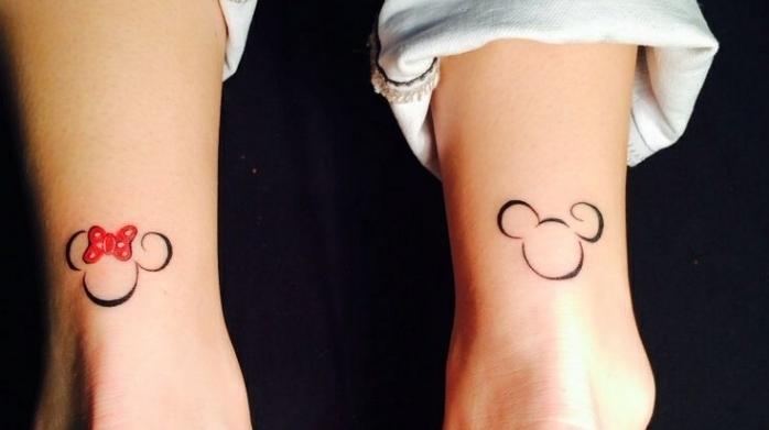 tattoos für paare, partnertattoo ideen niedliche zeichnungen von mickey und minney mouse