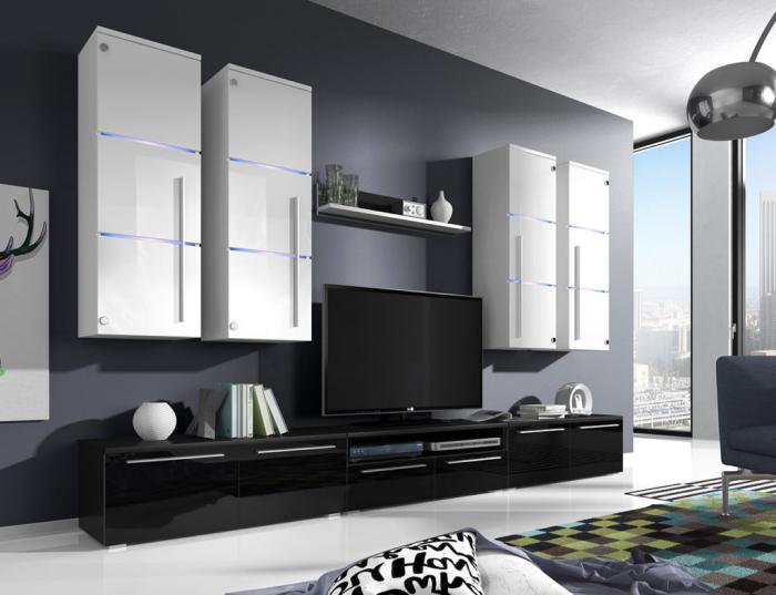 moderne wohnwände, wohnzimmer einrichten, schrankwand in weiß und schwarz, graue wand