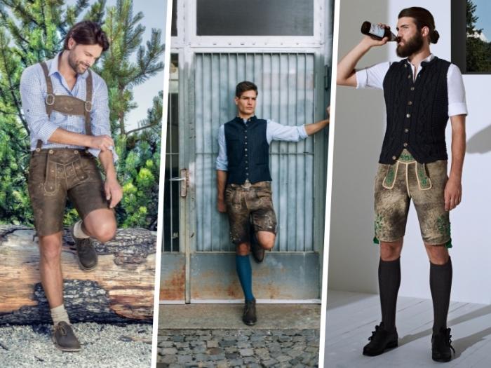 oktoberfest outfit für männer, kurze lederhose, hellblaues hemd, lange söcke, bier trinken