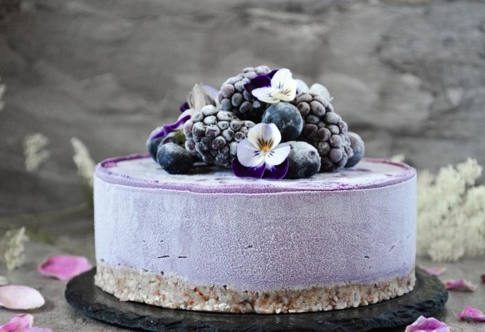 philadelphia kuchen rezept, torte mit gefrorenen blaubeeren und brombeeren, kleine blüten, geburtstagstorte