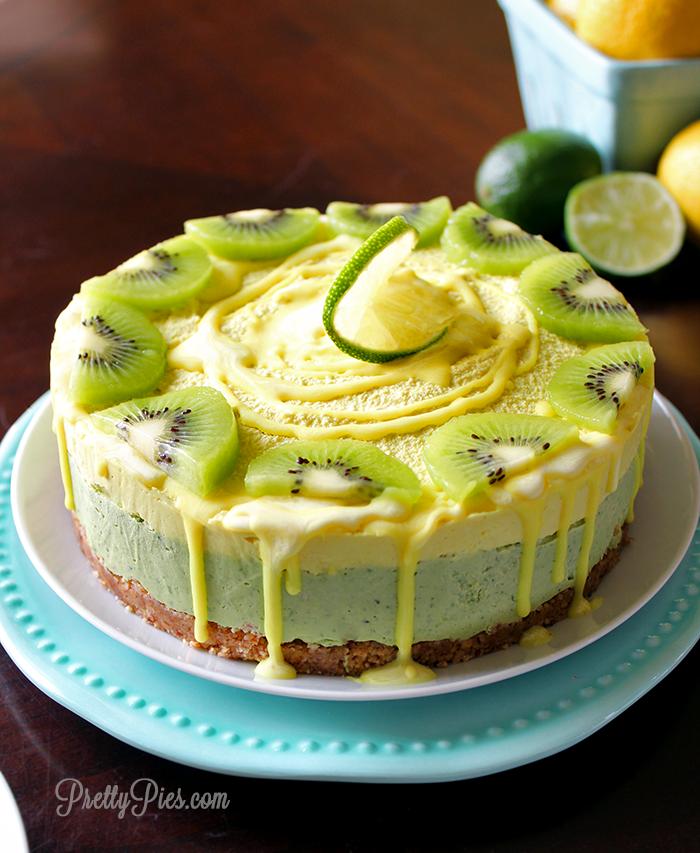 philadelphia rezepte, torte für sommer party, essen, kuchen mit zitronen, limetten und kiwis