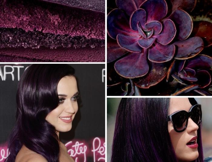 bunte haarfarben und gestaltungsvarianten, katy perry, eine kombi mit brillen und lippenstift, blumen in lila, telliche