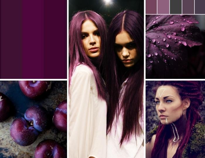 lila ist die trendy idee für bunte haarfarben bei den haaren in 2018 und 2019, pflaumen und nuancen des lila und blauen
