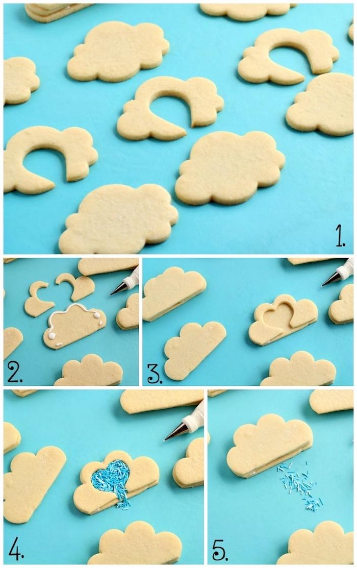 Plätzchen ausstechen und mit blauen Zuckerstreuseln füllen, Wolken und Schnee, tolle Idee für Weihnachtskekse