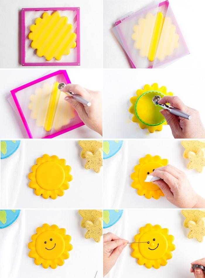 Leckere und schöne Plätzchen in Form von Sonne selber backen und mit Glasur verzieren, Idee für Kinderparty