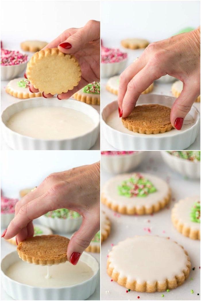 Plätzchen mit weißer Schokolade dekorieren, Idee für schöne und leckere Weihnachtsplätzchen