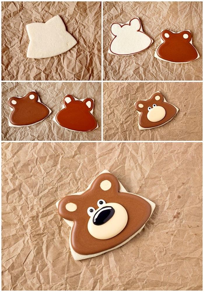 Plätzchen als Bären ausstechen und mit Glasur verzieren, Anleitung in vier Schritten und das Endprodukt