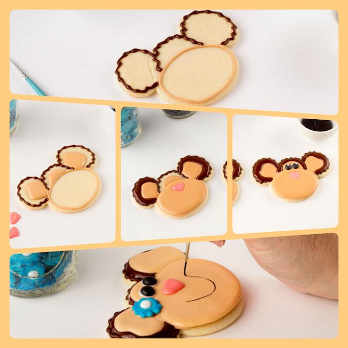 Affen Plätzchen dekorieren in fünf Schritten, Kekse verzieren mit Zuckerguss, ausführliche Anleitung
