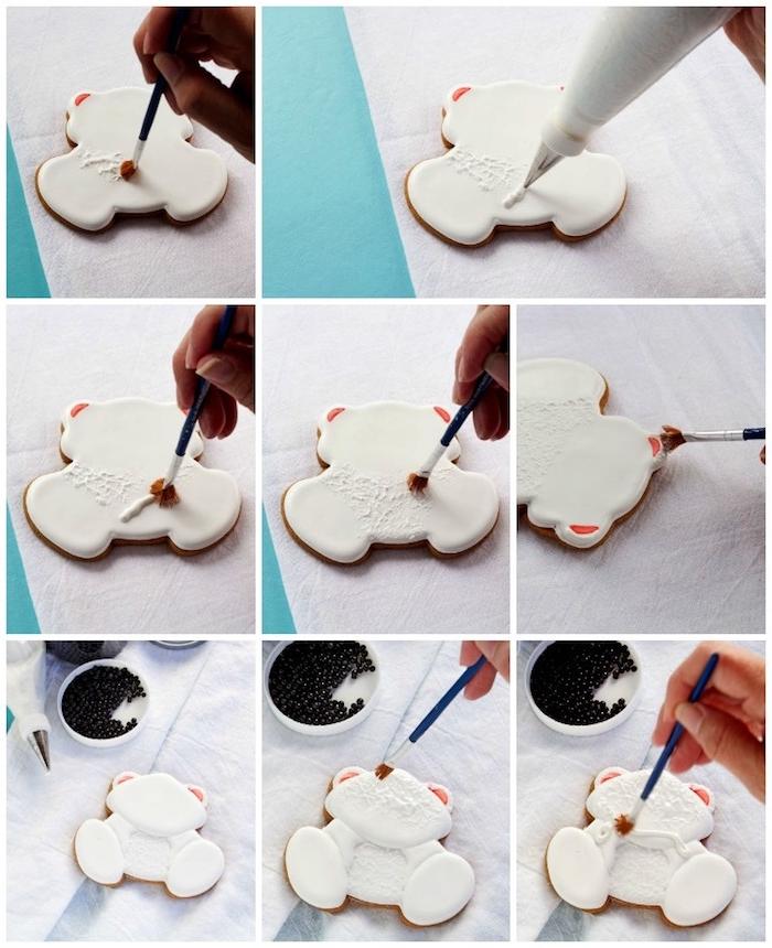 Weihnachtsplätzchen selber verzieren, Anleitung in acht Schritten, Kekse in Form von Eisbärchen