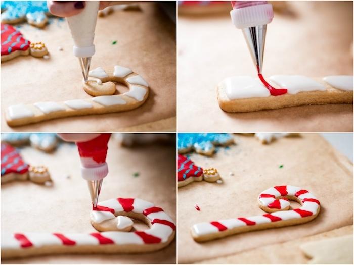 Weihnachtsplätzchen in Form von Zuckerstangen selber backen, mit roter und weißer Glasur dekorieren