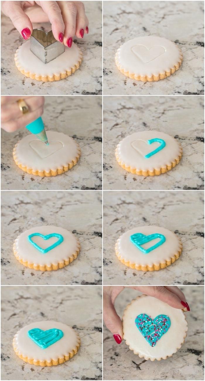 Plätzchen leicht und schnell dekorieren, Anleitung in acht Schritten, blaues Herz mit Glasur malen, mit Zuckerperlen bestreuen