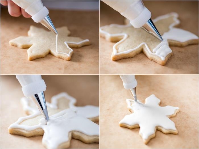 Schneeflocken Plätzchen zum Ausstechen, mit weißer Glasur dekorieren, Anleitung in vier Schritten