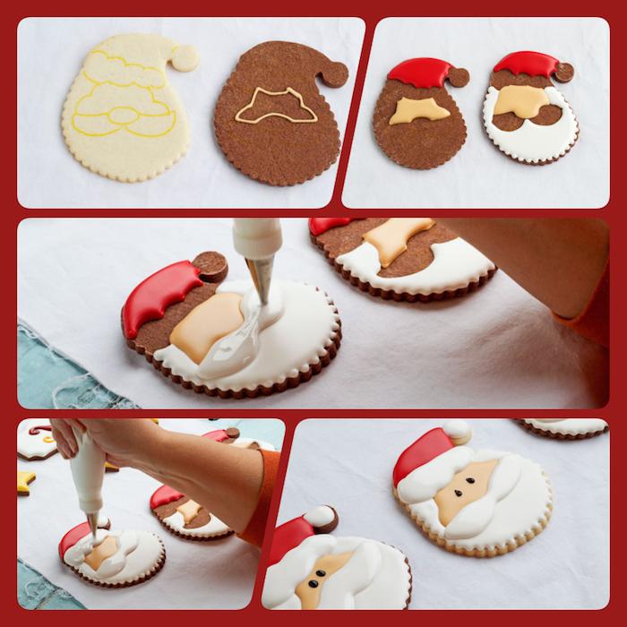 Weihnachtsplätzchen verzieren in fünf Schritten, Weihnachtsmann mit Glasur malen, Plätzchen zum Ausstechen