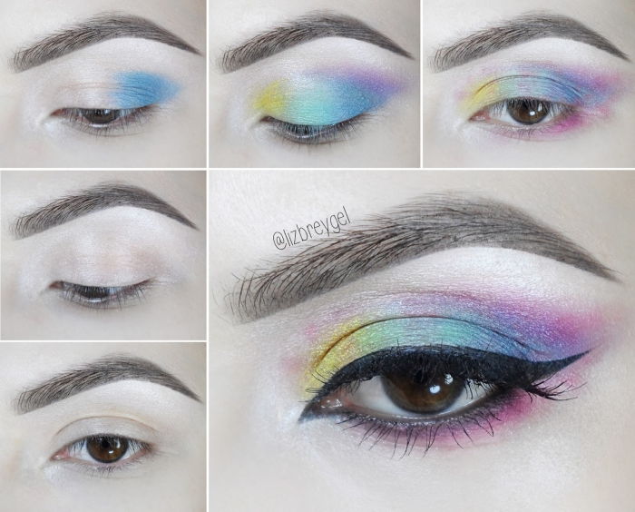regenbogen schminken, bunte lidschatten, augen make up in pastellfarben, tutorial