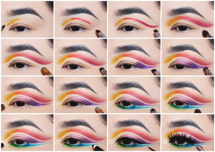 regenbogen schminken, schritt für schritt anleitung, diy tutorial, augen make up ideen