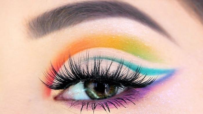 regenbogen schminken selber machen, schminktipps halloween, augen make up in den farben des regenbogens