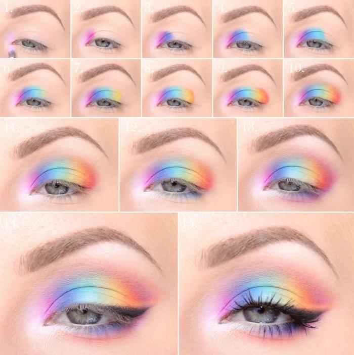 regenbogen schminken, schritt für schritt anleitung, make up ideen, bunte farben