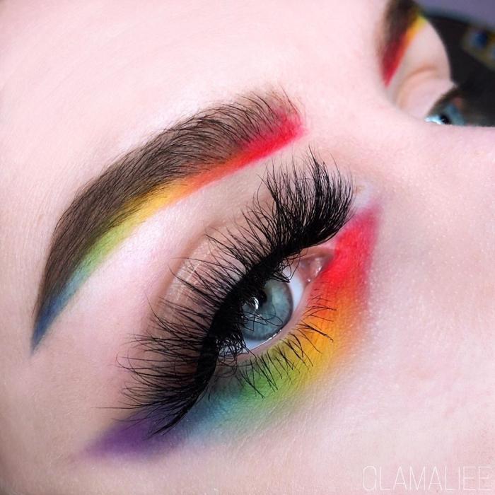 regenbogen schminken selber machen, make up in bunten farben, halloween ideen