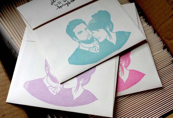 Porträt von dem Brautpaar in verschiedenen Farben, Blau, Lila und Rosa, Einladungskarten selber machen