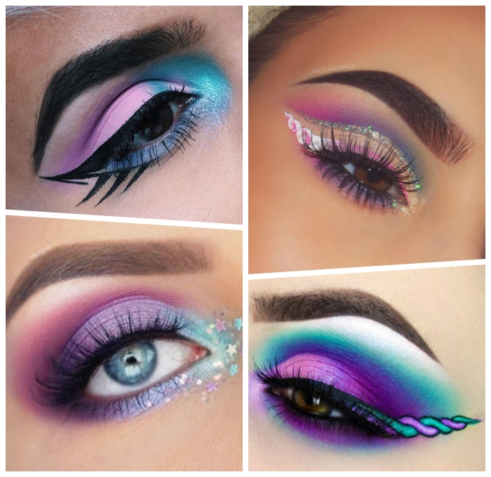 schminekn einhorn ideen, augen make up in lila und blau, halloween schminkideen