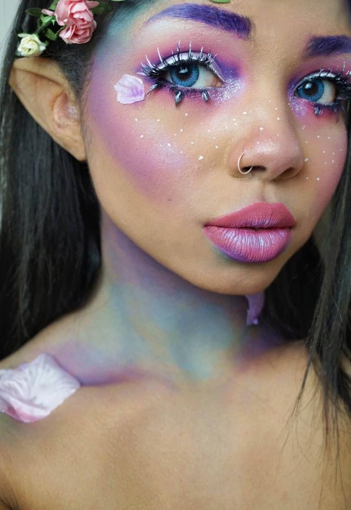schminken einhorn ideen, blaue augen, make up in rosa und lila, unicorn schminke