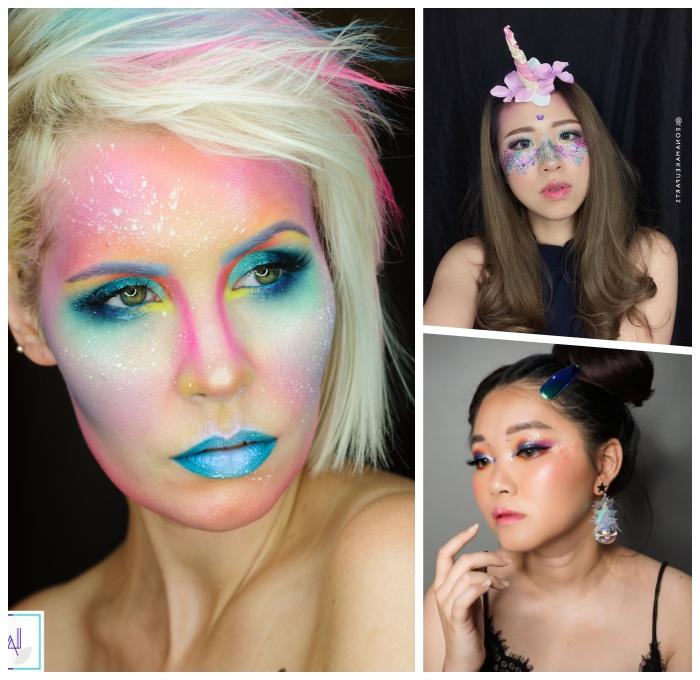 schminken einhorn make up ideen zum halloween, unicorn schminke in bunten farben