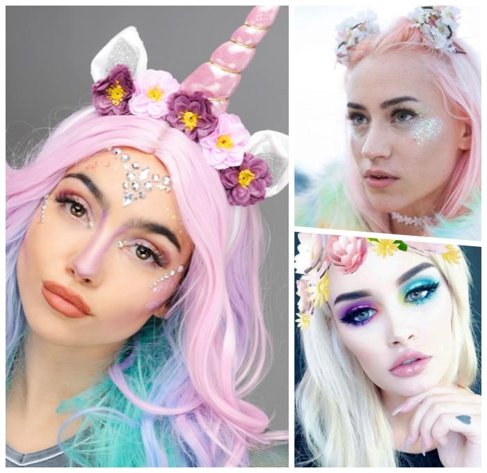 schminken einhorn, halloween make up ideen für frauen, unicorn kopfschmuck, blumen