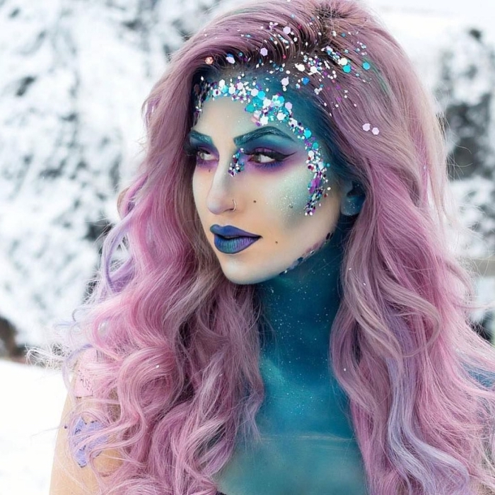 halloween make up ideen, rosa haare, schminken einhorn, unicorn schminke, glitzer