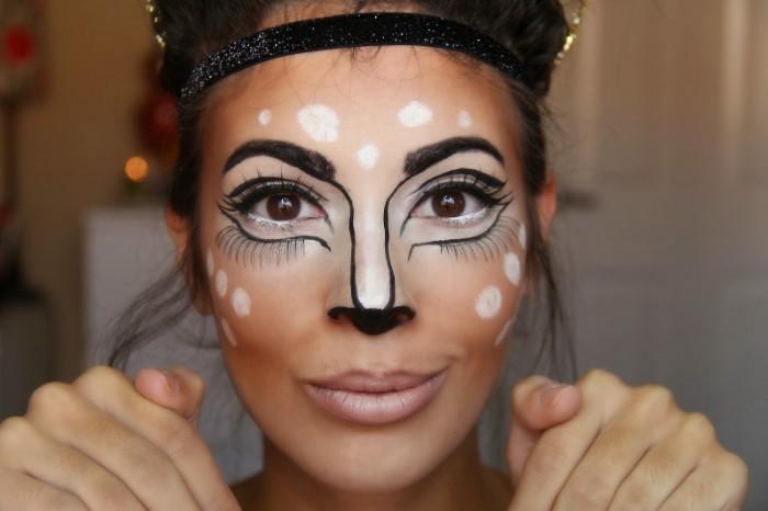 halloween schminken frauen wie wilden tieren, elen frau, präzise schminke mit weiß braun und schwarz