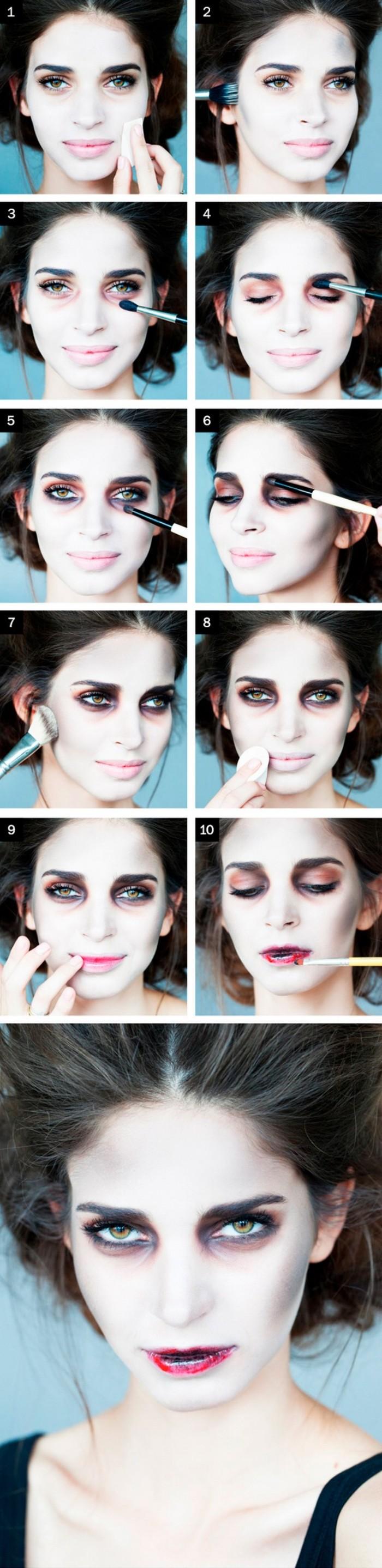 halloween schminkideen eine anleitung in elf bildern zombie oder vampir frau schminken