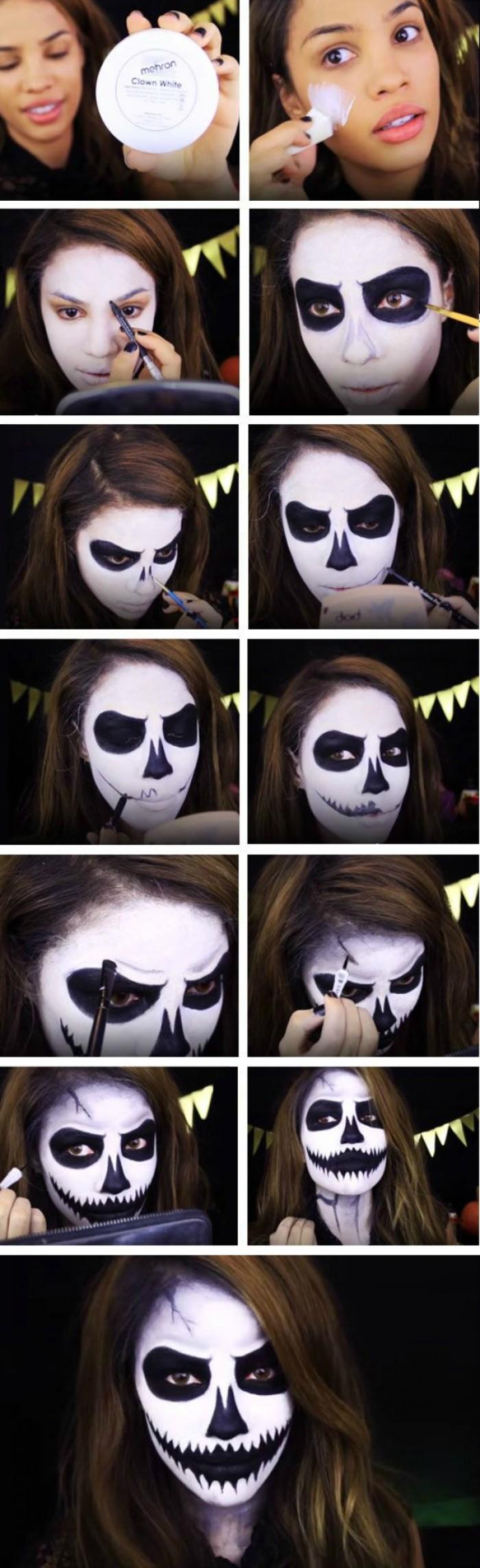 halloween schminideen in bildern anleitung zeigen, sich wie zombie oder mystisches wesen schminken