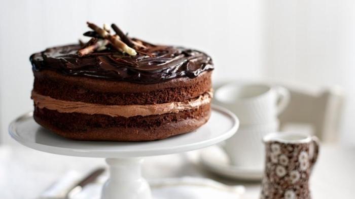 schko rührkuchen mit tortenboden mit kakao, geriebene schokolade, schnelles dessert