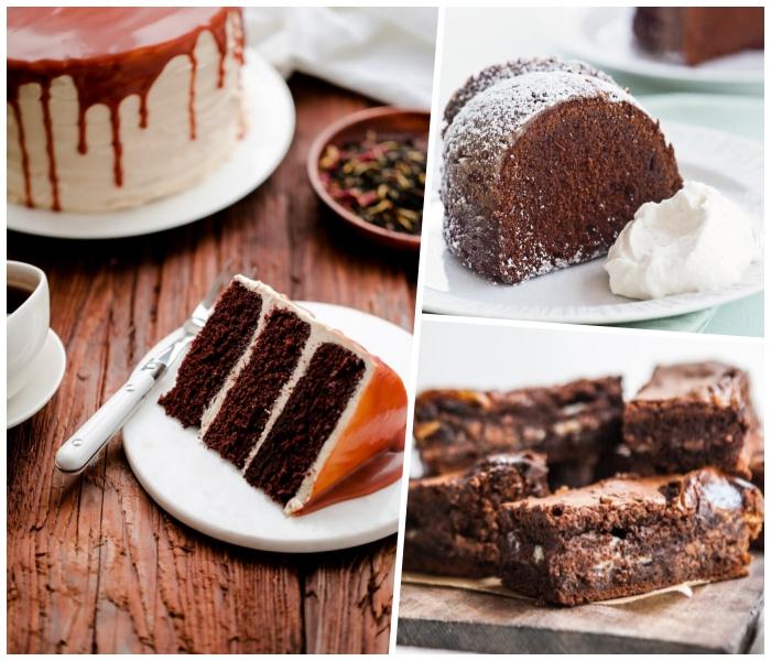 schoko rührkuchen rezepte, rote mit karamellsoße und sahne mit kaffee, kuchen mit weißer und milchschokolade
