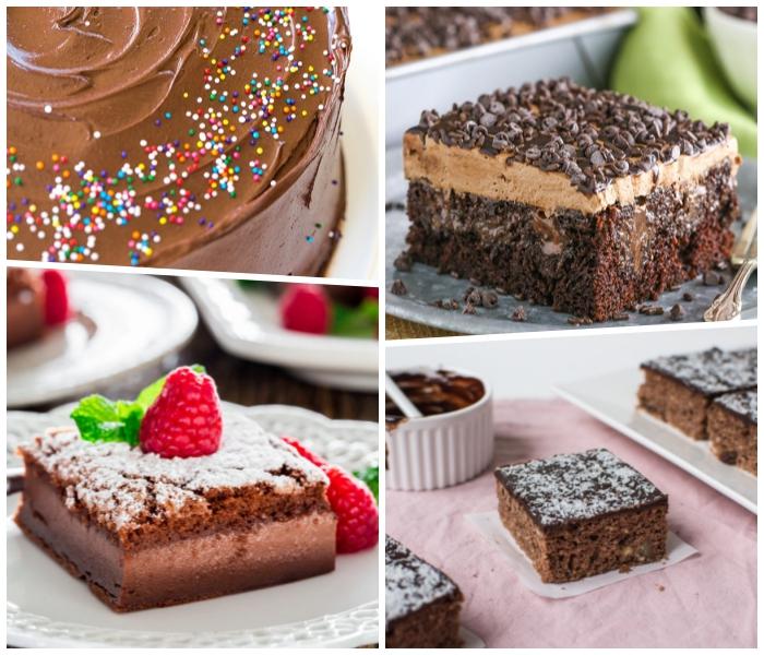 schoko rührkuchen, torten rezepte, bunte streusel, dessert mit himbeeren, schokoladenchips
