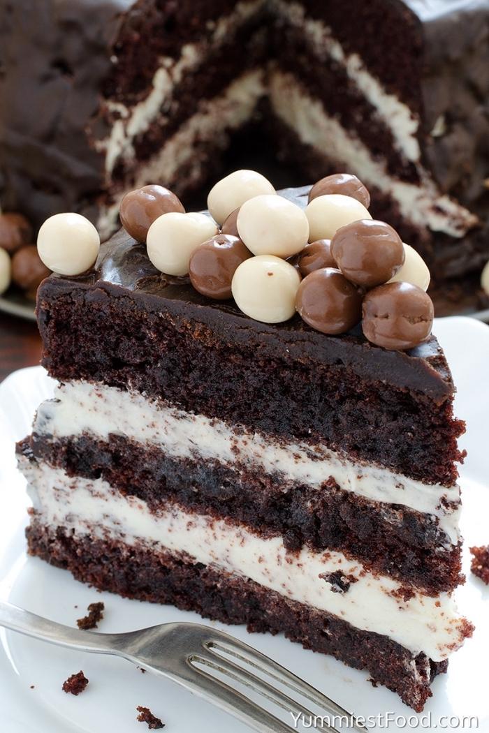schokokuchen mit kakao, stück torte dekoriert mit pralinen aus weißer und milchschokoalde
