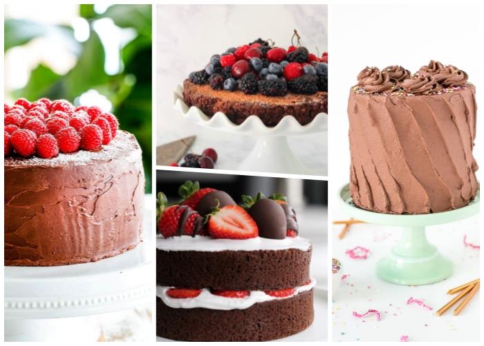 schokoladenkuchen rezept einfach, torten ideen, kuchen mit früchten, schokoladensahne
