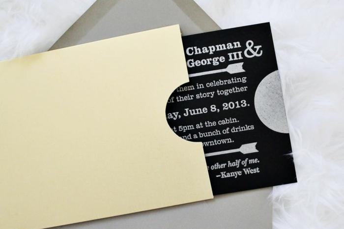 schwarze Einladungskarte mit weißer Schrift, zwei Pfeilen in einem gelben Briefumschlag stecken