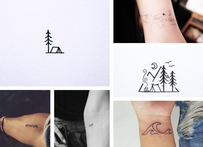 tattoos frauen, sechs bilder, natur ideen, vorlagen zum tätowieren, wasserwellen