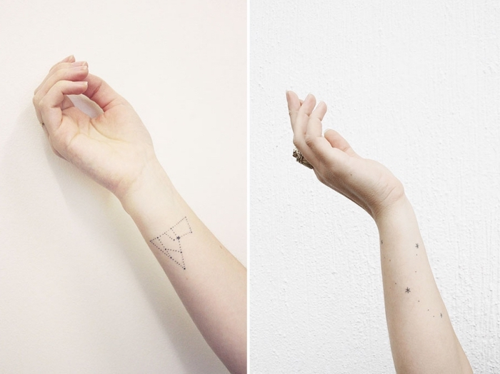 tattoo bilder, ideen sterne, sternzeichen, horoskop inspirierte tätowierungen