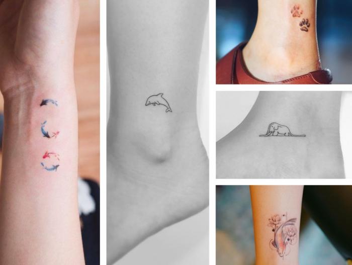 tattoo arm, tiere, tiervorlagen, bilder am arm shwarz weiße tattoos, bunte fische