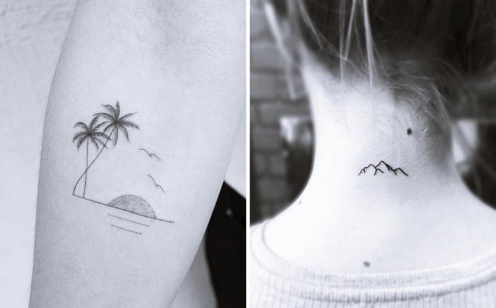 tattoo motive, palmen, insel, gebirge am nacken tätowieren, naturfreundliche tattoos