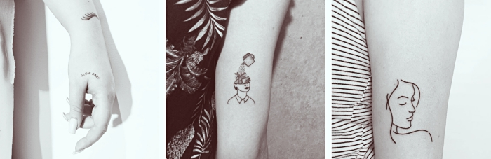 tattoo motive, frauen gesichter am arm, elegante gestaltungen, dezentes tattoo