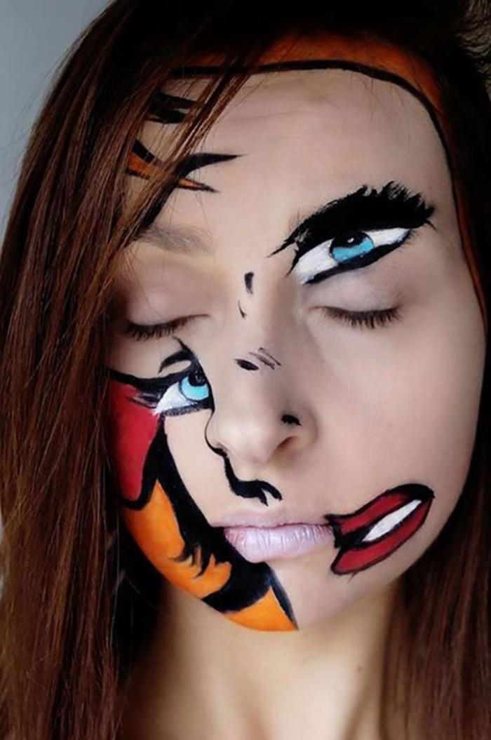 profi schminke, ein krummes gesicht gestalten, kreative gestaltungsidee, animation, cartoon figur, halloween gesicht schminken