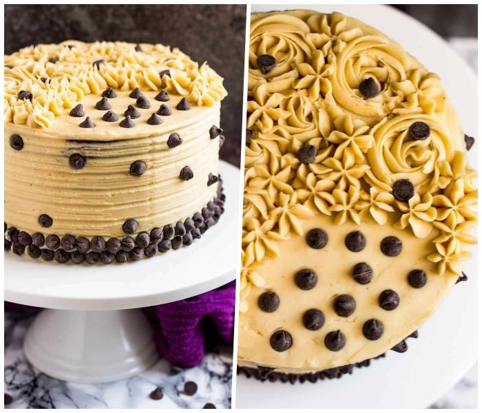 torte selber machen, geburtstagstorte mit schokoalde und karamell dekoriert mit schokoladenchips