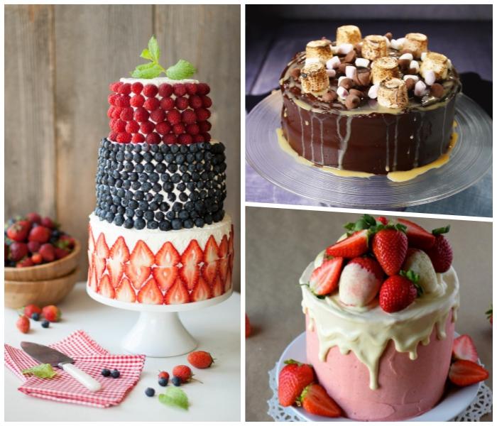 torte selber machen, kuchen mit früchten, schokoladentorte mit marshmallows, collage