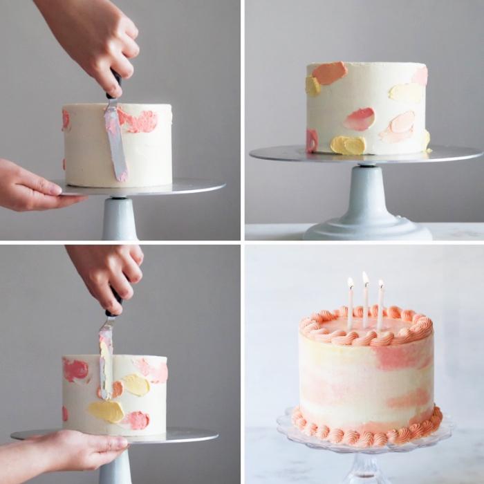 geburtstagstorte verzieren, torten dekorieren mit buttercreme, wasserfarben torte selber machen, tutorial