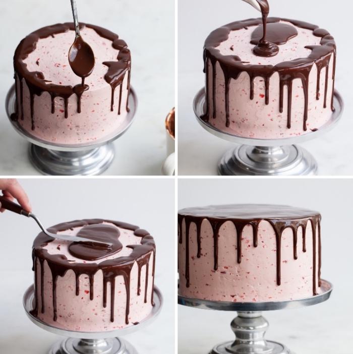 torten dekorieren, schokoladen ganache verteilen, kuchen mit erdbeeren buttercreme streichen