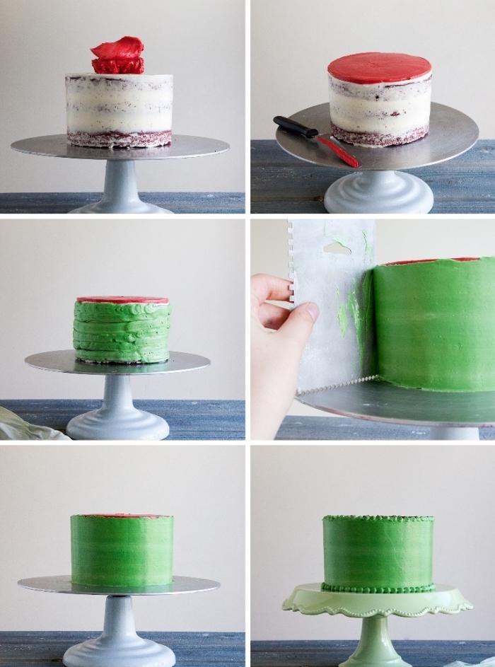 torten dekorieren wie wassermelone, rote und grüne buttercreme, großer spachtel, geburtstagstorte