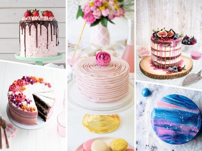torten verzieren, sahne mit erdbeeren, schokoladen ganache, galaxy torte, blumen aus buttercreme
